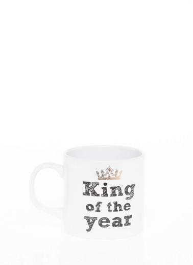 DeFacto Kral Taç Baskılı Sloganlı Kupa Beyaz